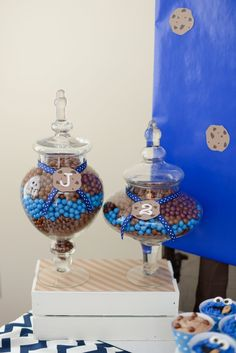 Boy's Sesame Street Cookie Monster Birthday Party Candy Jar Ideas