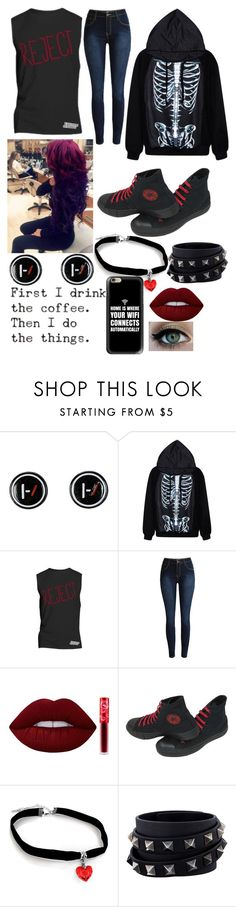 """Just Another Reject"" by rainy-kat on Polyvore featuring Lime Crime, Converse, Valentino and Casetify"