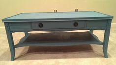 Vintage Blue Chalk painted coffee table.