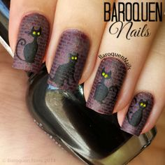 Halloween Alley Cats nail art by BaroquenNails #nailart #nails #halloween