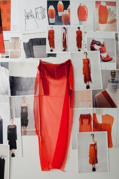 Fashion moodboard wall - idea development, sampling, fashion design