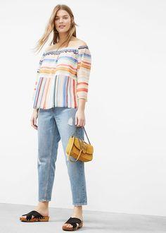 Printed off-shoulder blouse - Shirts  Plus sizes | Violeta by MANGO USA