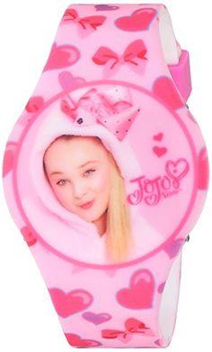 Jojo Siwa Girl's Quartz Plastic and Rubber Casual Watch, Color:Pink (Model: joj4011) Jojo led watch on printed pink strap Jojo led watch Quartz Movement Case Diameter: 43mm Not water resistant
