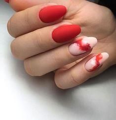 Autumn nails Evening nails Extraordinary nails Ideas of matte nails Interesting nails Matte red nails New years nails Party nails Red Nail Designs, Best Nail Art Designs, New Year's Nails, Fun Nails, Red Gel Nails, Red Nail Art, Black Nails, White Nails, Swag Nails