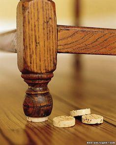 Wine cork furniture stablizer