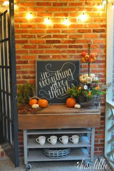Create a cider or hot chocolate bar on the front porch for your autumn parties.