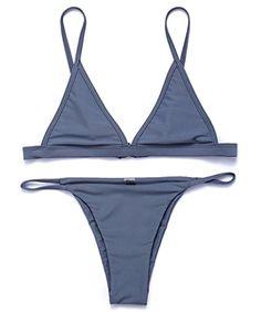 8aa595fbadc RELTANGL Women's 2 Piece Bikini Triangle Top Brazilian Bottom Swimwear Set,  Gray, Small Triangle