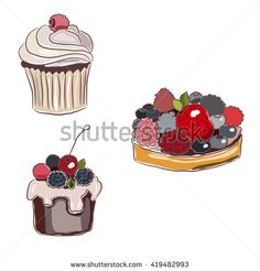 Two seasonal berry tarts with blueberry, blackberry, strawberry and whipped cream. Cupcake with vanilla cream and biscuit. Hand drawn isolated illustration.  - stock vector