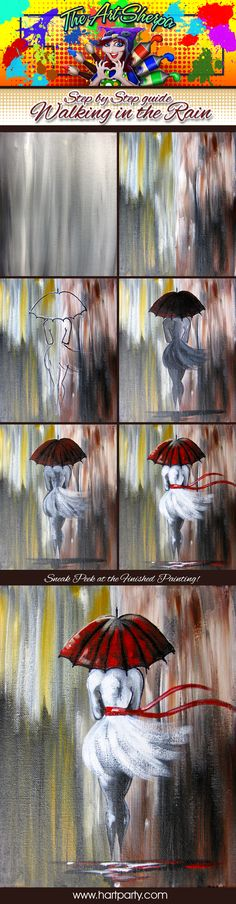 Walking In The Rain step by step. 16x20 Canvas Acrylic paint in the colors Yellow Ocher, Burnt sienna, titanium white, Mars Black, and Cadmium Red. Assorted acrylic brushes- As Seen the fthe fully guided Youtube Tutorial by The Art Sherpa https://youtu.be/vD7x93pLq30