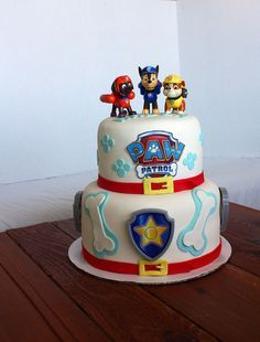 Paw Patrol cake, except marshal on top instead of zuma
