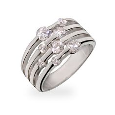 Sterling silver ring featuring a four row design and CZ stones sprinkled along the rows. Total carat weight of 2.2 ct. Includes gift box!