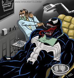 This is definitely going to be the most stressful dental appointment of the week! Marvel Dc Comics, Sci Fi Comics, Marvel Venom, Bd Comics, Marvel Vs, Marvel Funny, Marvel Memes, Funny Cartoons, Funny Comics