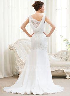 Trompete/Sereia Decote V Cauda de sereia De chiffon Vestido de noiva com Pregueado Renda Bordado Lantejoulas (002054619)