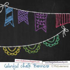 Tiza colores banderines banderas arco iris tiza Banners Clip