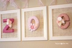 So cute, yarn wrapped and framed paper mache letters!