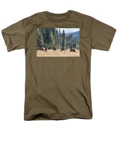 """""""Rocky Mountain Elk Herd""""  T-Shirt by Bill Kesler   (NOTE:  Six sizes to choose from, twenty-eight colors to choose from.)"""