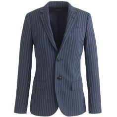J.Crew Collection Women's Ludlow Blazer ($570) ❤ liked on Polyvore featuring outerwear, jackets, blazers, blazer, pinstripe blazer, j crew jacket, pinstripe jacket, long fitted blazer and long wool jacket