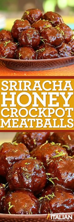 This is for the sriracha lover in you. Sriracha Honey Slow Cooker Meatballs are hot, sweet, tangy and wildly addictive. A simple recipe, this dish just about cooks itself. Add the sauce ingredients, form the meatballs. Toss them in the slow cooker and vi Meatball Recipes, Meat Recipes, Slow Cooker Recipes, Crockpot Recipes, Cooking Recipes, Cooking Videos, Cooking Tips, Sriracha Recipes, Meatball Subs
