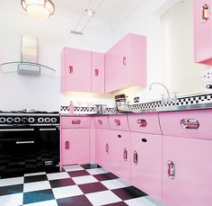 The hand painted and polished wooden Creme de la Creme is a kitchen that shouts style & colour. Retrolicious!
