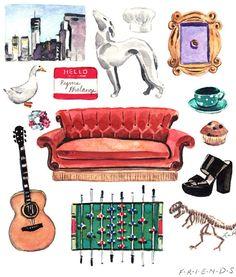 Friends TV Show Collage Painting - Giclee Print of Original - NBC Fan 90s Sitcom…