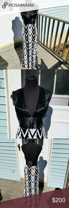 """La Femme Black & White Sequin Embellished Gown This dress is in excellent used condition. Was worn once for prom and hemmed a few inches to make it easier to walk in and I'm 5""""2. This dress is very sexy and glamorous! Would love to see someone rock this gem!  Comes with original dress bag. La Femme Dresses Prom"""