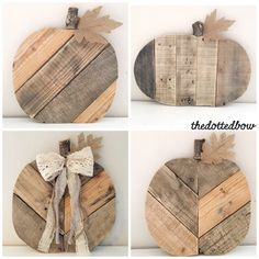 Reclaimed wood pallet pumpkins add instant farmhouse charm to your front porch or entry way this fall season. Styles include a 12 round chevron pumpkin, 12 round diagonal pumpkin or 18 wide vertical pumpkin. Trims can be added (just include trim color presences in checkout notes) or pumpkins can be ordered with just the burlap leaf. You may also add lettering such as your last name, welcome etc for an additional $10. ** All pumpkins are handmade with reclaimed wood so no two pumpkins will be…