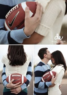 I think it'd be cute to have some engagement pics with football in it? Football Engagement Pictures, Unique Engagement Photos, Engagement Couple, Engagement Shoots, Wedding Engagement, Football Pictures, Engagement Ideas, Wedding Pics, Dream Wedding