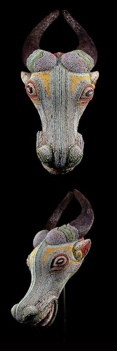 Africa | Mask from the Bamileke people of Cameroon | Wood, textile and glass beads