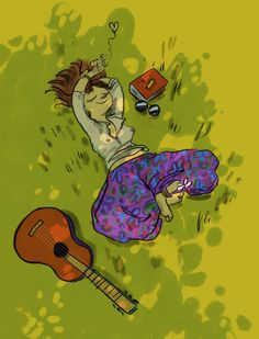 illustration, hippy, peace, relax, digital color