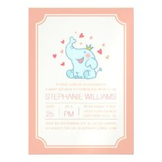 Cute Baby Elephant | Typography Baby Shower Magnetic Card - baby gifts child new born gift idea diy cyo special unique design