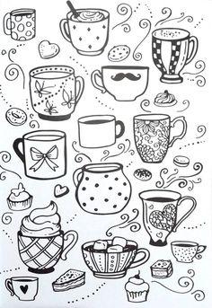 Livro de Colorir Arteterapia Criativa - Adult Coloring pages Cupcake cup tea - Ideas In Crafting