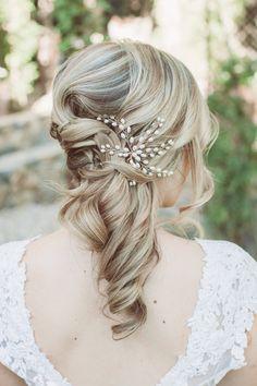 romantic bridal hair - photo by Hazelwood Photo http://ruffledblog.com/handcrafted-wedding-at-calamigos-ranch
