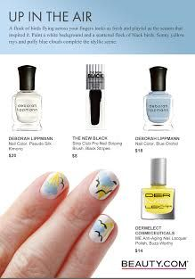 DIY flock of birds nail art. Begin by using a ridge filler and base coat to prep your nails for smooth color application. Paint a white background and a scattered flock of black birds. Sunny yellow rays and puffy blue clouds complete the idyllic scene. Beauty.com has you covered on all of your nail polish needs.