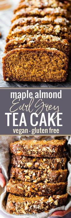 This Vegan Maple Almond Earl Grey Tea cake is lightly sweet and simple. A gluten free buttery tea cake loaf infused with Earl Grey tea and a hint cardamon! The maple almond glaze is the perfect topping. Quick to make in one pan and bakes up in under 45 minutes! http://www.cottercrunch.com