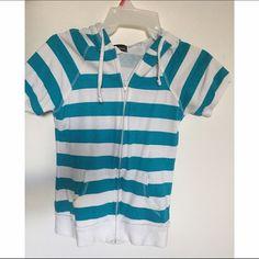 Zip top CONTACT BEFORE BUYING • Bright blue, zip up top, pockets, hood. Never worn. Wet Seal Tops