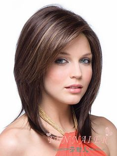 Hot Sell  Style Straight Brown Mix Blonde Hair Wigs For Women Full Wig Hq
