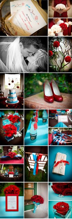 love the teal and red used together.
