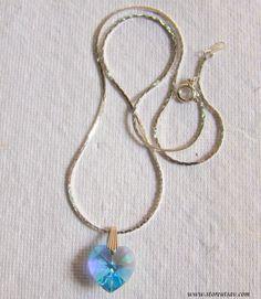 Necklace Chain Silver with Blue Turkish Crystal Glass Locket-Fashion Jewelry-Handmade Jewelry-Locket Necklace Silver Jewelry
