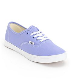 Add a pop of color to any outfit with the Vans Authentic Lo Pro Jacaranda Purple and True White shoe. The durable canvas upper is constructed on top of a vulcanized rubber outsole with Vans micro-waffle tread for grip, while the slim design and low profil