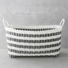 Grey-White Stripe Laundry Hamper | Crate and Barrel