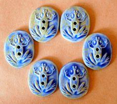 6 Handmade porcelain Buttons- Frogs