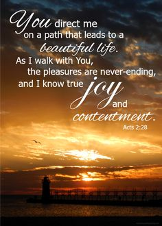 I know true joy and contentment - Acts 2:28