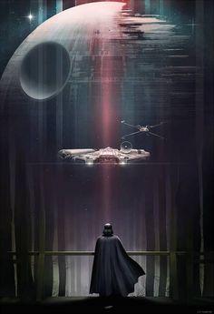 Darht-Vader-El-halcon-milenario-y-la-estrella-de-la-muerte