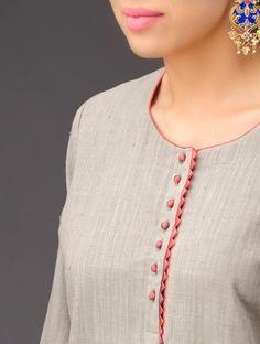 Buy Gargoyle Grey-Peach Panel Khadi Kurta Online at Jaypore.com