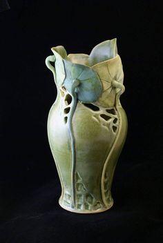 Pratt Clay Studio | Mary Pratt | Lily Pad with Cutouts Vase | Pottery | #CAPCA