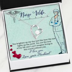 Impress your Nurse Wife with this Unique Handmade Forever Love Heart Pendant Necklace that comes with a special custom message card with Free Gift Box and Free Shipping. A heartfelt Gift for a Birthday, Anniversary or just because!  Free Gift Box  ✔️  Free Shipping ✔️  Satisfaction Guaranteed ✔️  Not Sold in shops ✔️ Love Necklace, Heart Pendant Necklace, Gifts For Fiance, Jewelry Gifts, Jewellery, Message Card, Forever Love, Nurse Gifts, Personalized Jewelry