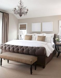 Beautifully brown bedroom - more of a light brown on the walls but pretty