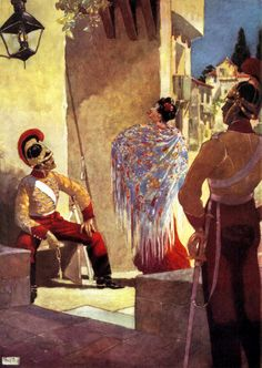 "At first sight I did not like her looks. From Prosper Mérimée's ""Carmen"". Illustration by René Bull (1915)"