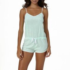 Op Juniors Swim Terry Romper Swim Cover-up, Size: Large, Green