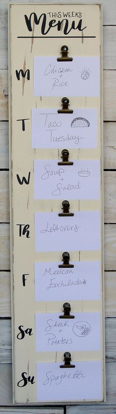 Weekly Menu Sign Daily Menu Sign Weekly Menu Planner Rustic
